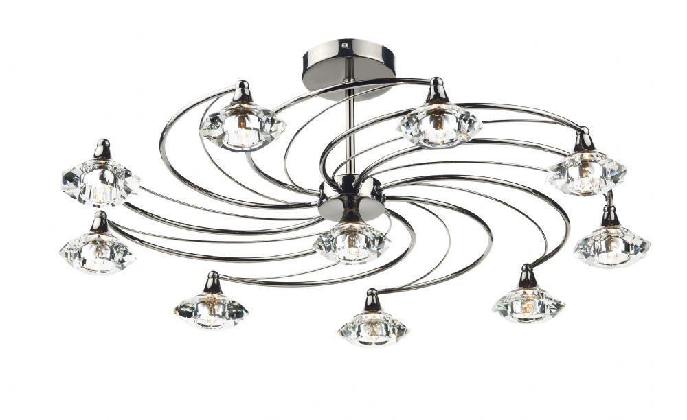 Dar Luther 10 Light Semi Flush complete with Crystal Glass Black Chrome LUT2367